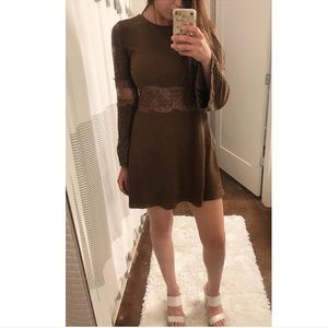Brown Dress with Lace Inserts